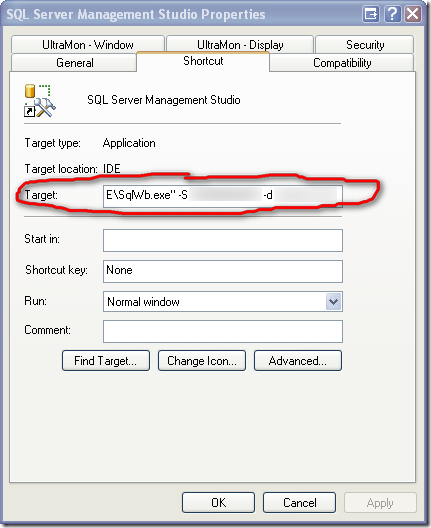 SQL Server Management Studio Properties Box
